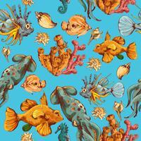 Havs kreaturer skissar färgat sömlöst mönster