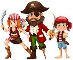 Pirat und zwei Mannschaften mit Waffen vektor