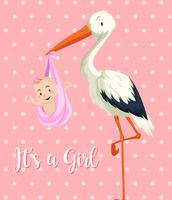 Storchschätzchen mit Baby auf rosa Hintergrund vektor