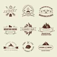 Camping-Etiketten gesetzt