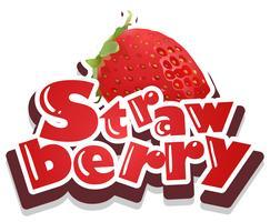 Font design med ordet jordgubbe vektor