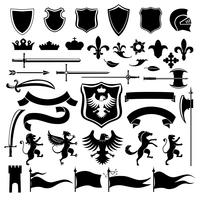 Heraldisches Set schwarz vektor