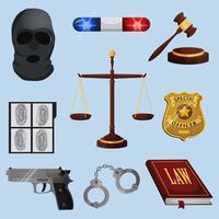 Gesetz und Gerechtigkeitsikonen eingestellt vektor