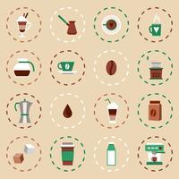 Kaffe platt ikoner Set
