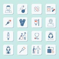 Sjuksköterska ikonuppsättning vektor