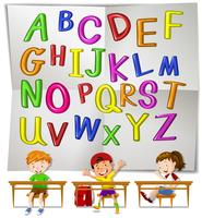 Engelska alfabet och barn i klassen vektor