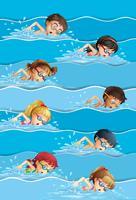 Många barn simma i poolen vektor