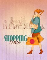 Shopping stadsaffisch vektor