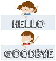 Mädchen sagen Hallo und auf Wiedersehen
