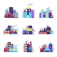 industribyggnad ikoner uppsättning vektor