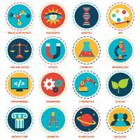 Vetenskapsområden ikoner vektor