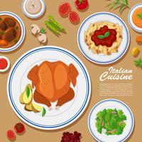Affischdesign med olika typer av mat vektor