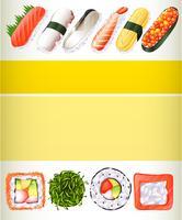 Affischdesign med olika sushi-rullar