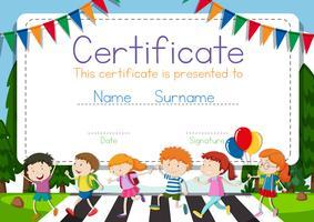 Certifikatmall med barn som korsar vägbakgrund vektor
