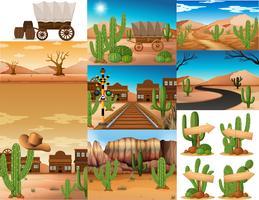 Wüstenszenen mit Kakteen und Gebäuden vektor