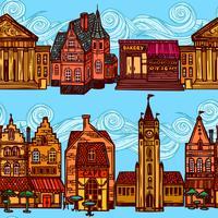 Skissera stadens sömlösa gräns vektor