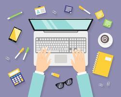 Företags arbetsplats med anteckningsbok vektor