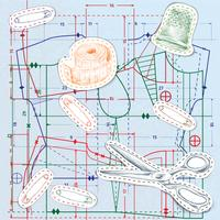 Nahtloses Muster der nähenden Skizze vektor