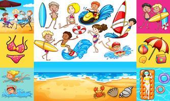 Människor gör olika aktiviteter vid havet vektor