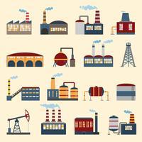 Industriell byggnad ikoner vektor