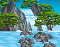 Vattenfall scen i skogen vektor