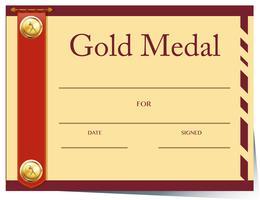 Certifikatmall för guldmedalj på papper vektor