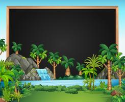 Grenzschablone mit Wasserfallszene vektor