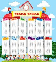 Tider tabellen diagram med barn i skolan bakgrund
