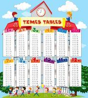 Zeittabellendiagramm mit Kindern am Schulhintergrund vektor