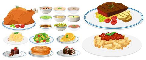 Verschiedene Arten von Speisen auf Tellern vektor