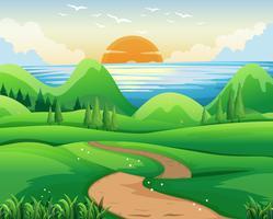 Szene mit Sonnenuntergang am Meer vektor