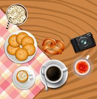 Bakgrundsdesign med kakor och drycker