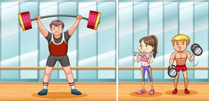 Människor som tränar i gym