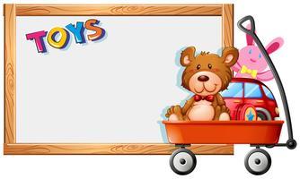 Rammall med leksaker på röd vagn vektor