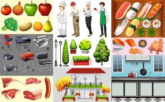 Människor som arbetar i matbranschen och olika typer av mat vektor