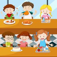 Många barn äter i matsalen vektor