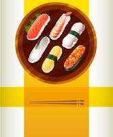 Hintergrundschablone mit Sushi und Essstäbchen vektor