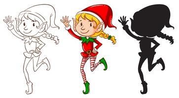 Skizzen eines Elfen in drei Farben