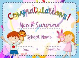 Certifikatmall med pojke och tjej vektor