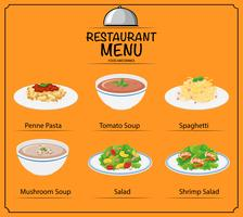 Unterschiedliches Gericht im Menü