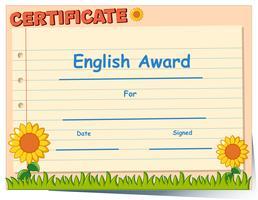 Certifikatmall för engelsk utmärkelse vektor