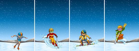 Vier Szenen mit Menschen beim Skifahren und Snowboarden vektor