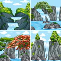 Fyra scener av vattenfall på dagtid