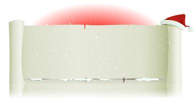 Weihnachtsmann-Hut auf Pergament-Hintergrund der frohen Weihnachten vektor