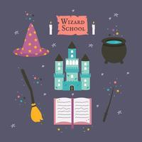 Zaubererschule Icons Vektor