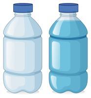 Två flaskor med och utan vatten