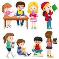 Jungen und Mädchen, die verschiedene Aktivitäten ausführen vektor