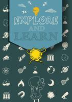 Utbildningsaffisch med vetenskapssymboler vektor