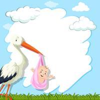 Grenzschablone mit Vogel und Baby im Park vektor