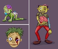 Tre zombies på grå bakgrund vektor